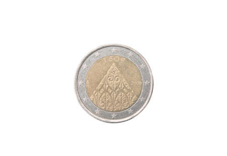 minted: Commemorative 2 euro coin of Finland minted in 2009 isolated on white