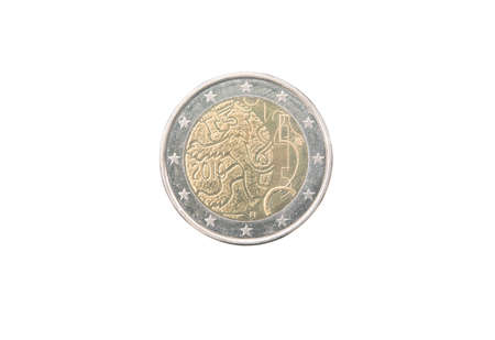 minted: Commemorative 2 euro coin of Finland minted in 2010 isolated on white