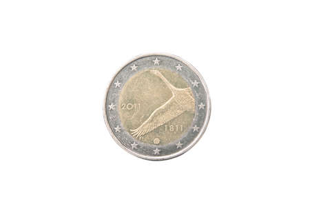 minted: Commemorative 2 euro coin of Finland minted in 2011 isolated on white