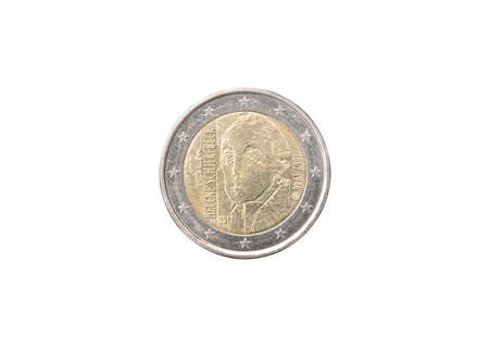 minted: Commemorative 2 euro coin of Finland minted in 2012 isolated on white