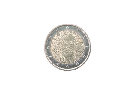 commemorative: Commemorative 2 euro coin of Finland minted in 2013 isolated on white