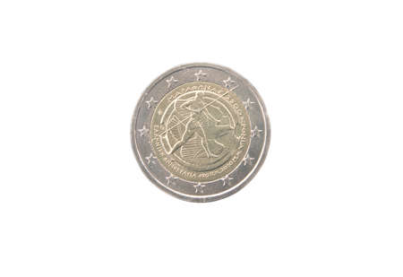 minted: Commemorative 2 euro coin of Greece minted in 2010 isolated on white