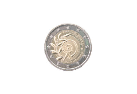 minted: Commemorative 2 euro coin of Greece minted in 2011 isolated on white