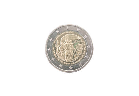 minted: Commemorative 2 euro coin of Greece minted in 2013 isolated on white