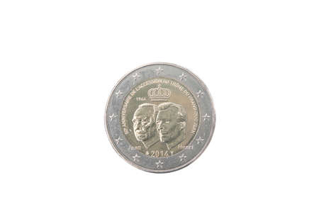 minted: Commemorative 2 euro coin of Luxembourg minted in 2014 isolated on white