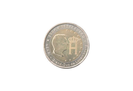 minted: Commemorative 2 euro coin of Luxembourg minted in 2004 isolated on white