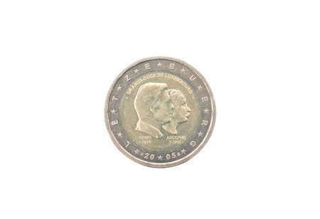 minted: Commemorative 2 euro coin of Luxembourg minted in 2005 isolated on white