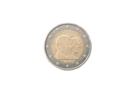 minted: Commemorative 2 euro coin of Luxembourg minted in 2006 isolated on white