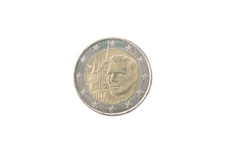 minted: Commemorative 2 euro coin of Luxembourg minted in 2007 isolated on white