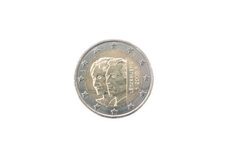 minted: Commemorative 2 euro coin of Luxembourg minted in 2009 isolated on white