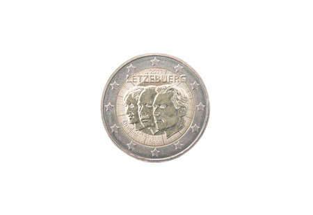minted: Commemorative 2 euro coin of Luxembourg minted in 2011 isolated on white