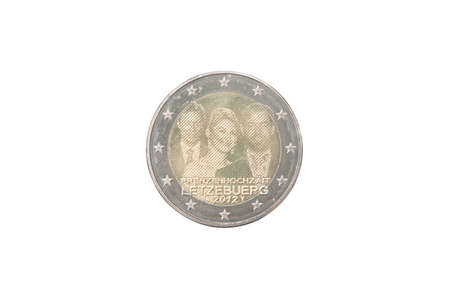 minted: Commemorative 2 euro coin of Luxembourg minted in 2012 isolated on white