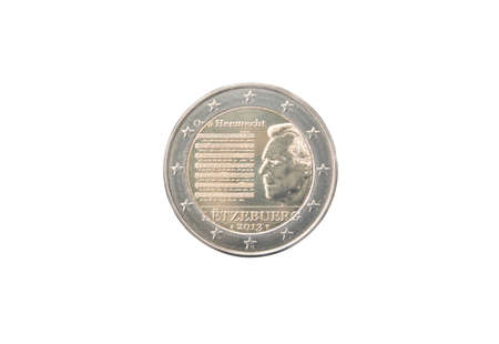 minted: Commemorative 2 euro coin of Luxembourg minted in 2013 isolated on white