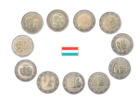 commemorative: Set of commemorative coins of Luxembourg isolated on white Stock Photo