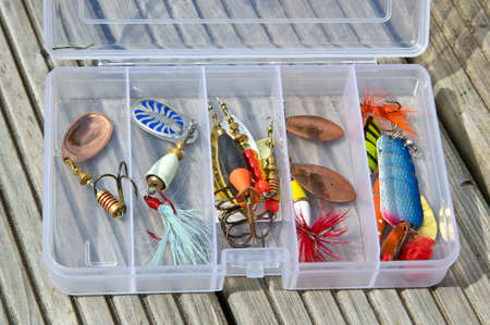 spinner: Fishing lures in plastic box
