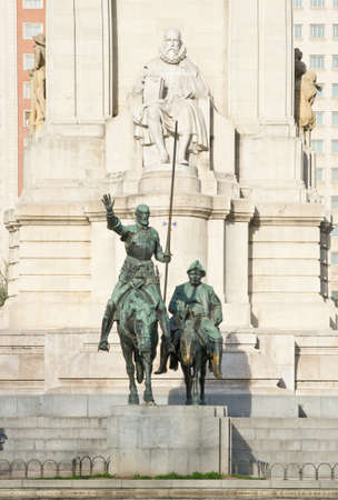 novelist: Monument to Miguel de Cervantes Saavedra and bronze sculptures of Don Quixote and Sancho Panza in Madrid, Spain Stock Photo