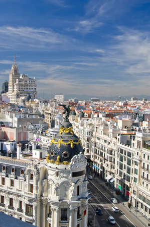 Aerial View of old city of Madrid and Calle Gran Via, Spain