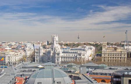 palacio de comunicaciones: Aerial view of the Cybele Palace (Palacio de Cibeles) on Cybele square (Plaza de Cibeles) in Madrid, Spain