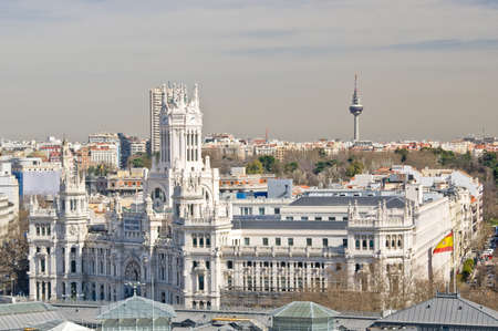 palacio de comunicaciones: Panoramic view to The Cybele Palace on Cybele square in Madrid, Spain