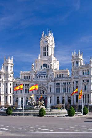 The Cybele Palace (Palacio de Cibeles) on Cybele square (Plaza de Cibeles) in Madrid, Spain