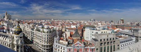 Panorama of the beginning of Calle Gran Via and center of Madrid, Spain