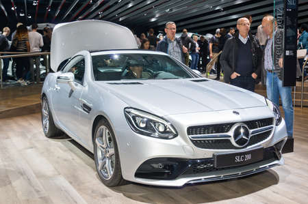 Frankfurt-September 20: Mercedes-Benz SLC 200  at the Frankfurt International Motor Show on September 20, 2017 in Frankfurt Editorial