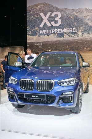 Frankfurt-September 20: World premiere of BMW X3  at the Frankfurt International Motor Show on September 20, 2017 in Frankfurt