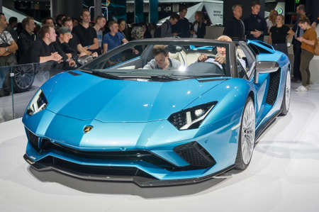 Frankfurt-September 20:  Lamborghini Aventador S Roadster  at the Frankfurt International Motor Show on September 20, 2017 in Frankfurt Editorial