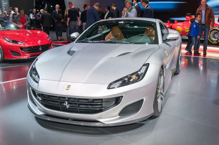 Frankfurt-September 20: world premiere of Ferrari Portofino at the Frankfurt International Motor Show on September 20, 2017 in Frankfurt Editorial