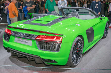 Frankfurt-September 20:  Audi R8 V10 plus at the Frankfurt International Motor Show on September 20, 2017 in Frankfurt Editorial