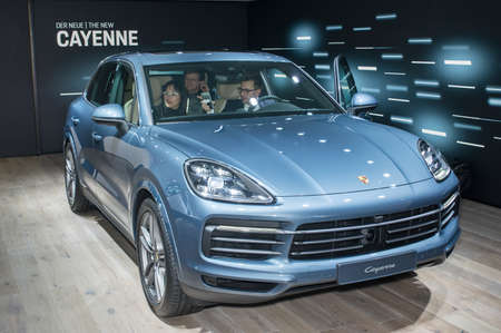 Frankfurt-September 20: world premiere of Porsche Cayenne at the Frankfurt International Motor Show on September 20, 2017 in Frankfurt