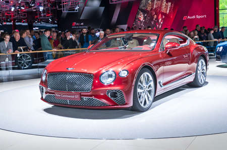 Frankfurt-September 20:  Bentley Continental GT at the Frankfurt International Motor Show on September 20, 2017 in Frankfurt