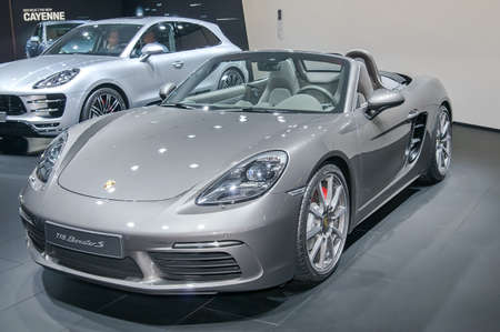 Frankfurt-September 20:  Porsche 718 Boxster S at the Frankfurt International Motor Show on September 20, 2017 in Frankfurt Editorial