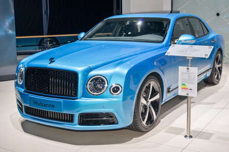 Frankfurt-September 20:  Bentley Mulsanne design series by Mulliner at the Frankfurt International Motor Show on September 20, 2017 in Frankfurt