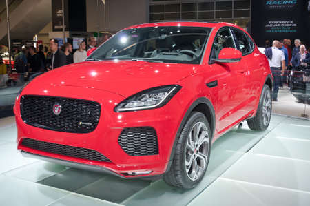 Frankfurt-September 20: world premiere of Jaguar E-Pace at the Frankfurt International Motor Show on September 20, 2017 in Frankfurt