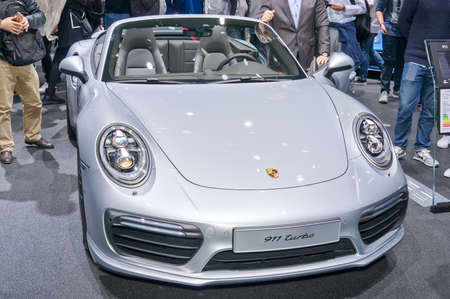Frankfurt-September 20:  Porsche 911 Turbo at the Frankfurt International Motor Show on September 20, 2017 in Frankfurt Editorial