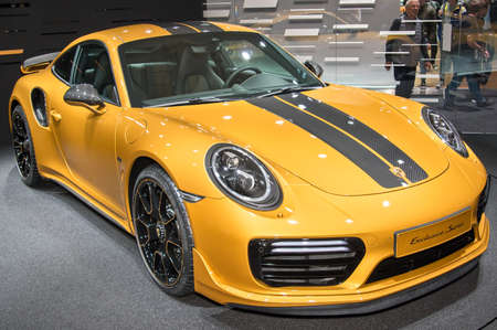 Frankfurt-September 20:  Porsche 911 Turbo S Exclusive Series at the Frankfurt International Motor Show on September 20, 2017 in Frankfurt Editorial