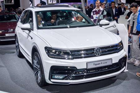 Frankfurt-September 20:  Volkswagen Tiguan R-Line at the Frankfurt International Motor Show on September 20, 2017 in Frankfurt