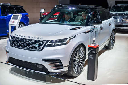 Frankfurt-September 20:  Land Rover Range Rover Velar at the Frankfurt International Motor Show on September 20, 2017 in Frankfurt Editorial