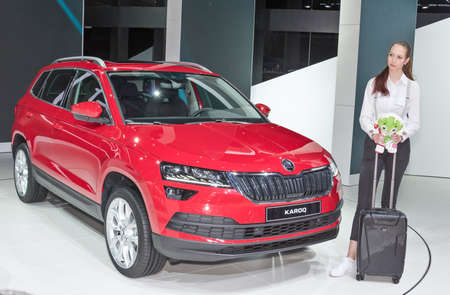 Frankfurt-September 20:  Skoda Karoq at the Frankfurt International Motor Show on September 20, 2017 in Frankfurt