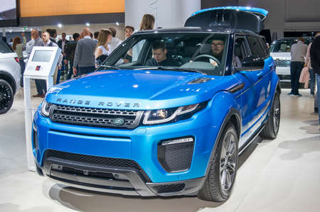 Frankfurt-September 20:  Land Rover Range Rover Evoque at the Frankfurt International Motor Show on September 20, 2017 in Frankfurt Editorial