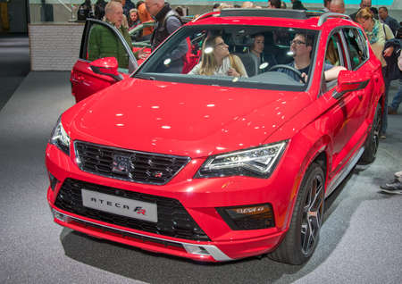 Frankfurt-September 20:  Seat Ateca FR at the Frankfurt International Motor Show on September 20, 2017 in Frankfurt Editorial