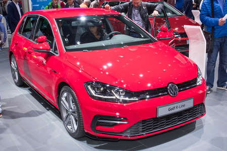 Frankfurt-September 20:  Volkswagen Golf R-Line at the Frankfurt International Motor Show on September 20, 2017 in Frankfurt Editorial