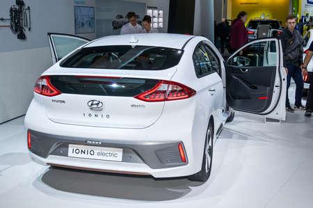 Frankfurt-September 20:  Hyundai Ioniq Electric at the Frankfurt International Motor Show on September 20, 2017 in Frankfurt