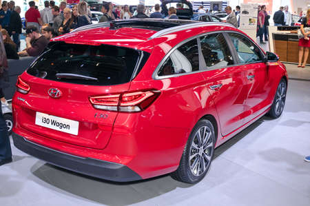 Frankfurt-September 20:  Hyundai i30 Wagon at the Frankfurt International Motor Show on September 20, 2017 in Frankfurt