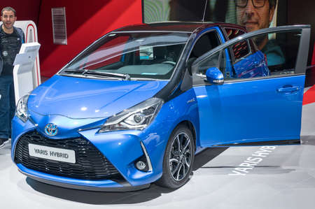 Frankfurt-September 20:  Toyota Yaris Hybrid at the Frankfurt International Motor Show on September 20, 2017 in Frankfurt