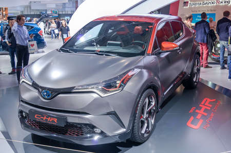 Frankfurt-September 20:  Toyota C-HR Hy-Power Concept  at the Frankfurt International Motor Show on September 20, 2017 in Frankfurt