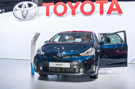 Frankfurt-September 20:  Toyota Prius Plus at the Frankfurt International Motor Show on September 20, 2017 in Frankfurt