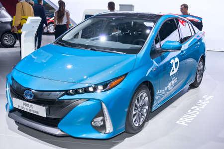Frankfurt-September 20:  Toyota Prius Plug in Hybrid at the Frankfurt International Motor Show on September 20, 2017 in Frankfurt