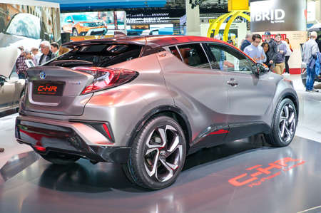 Frankfurt-September 20:  Toyota C-HR Hy-Power Concept  at the Frankfurt International Motor Show on September 20, 2017 in Frankfurt